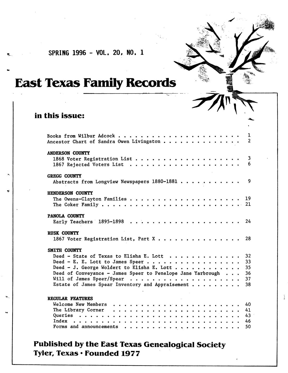 East Texas Family Records, Volume 20, Number 01, Spring 1996                                                                                                      Front Cover