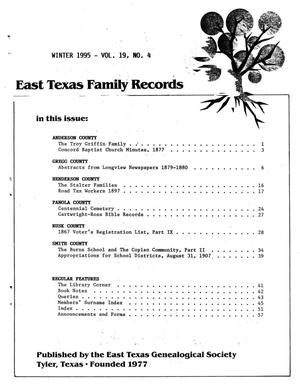 Primary view of object titled 'East Texas Family Records, Volume 19, Number 4, Winter 1995'.