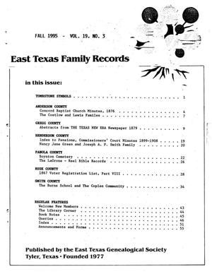 Primary view of object titled 'East Texas Family Records, Volume 19, Number 03, Fall 1995'.