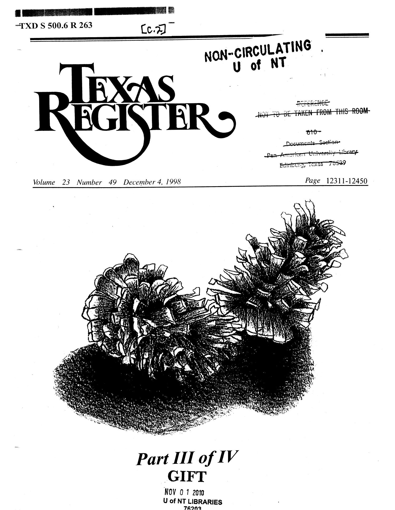 Texas Register, Volume 23, Number 49, Part III, Pages 12311-12450, December 4, 1998                                                                                                      Title Page