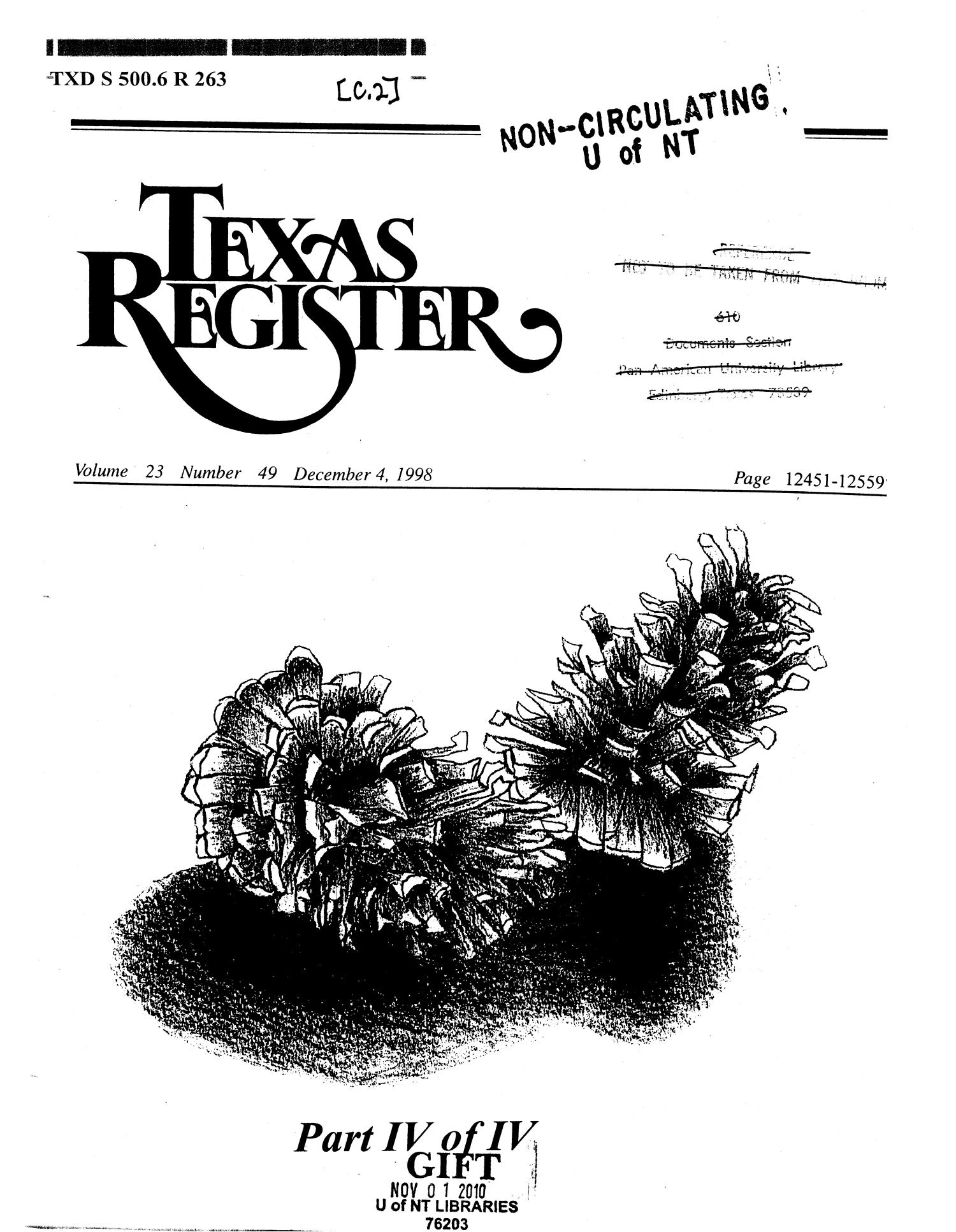 Texas Register, Volume 23, Number 49, Part IV, Pages 12451-12559, December 4, 1998                                                                                                      Title Page