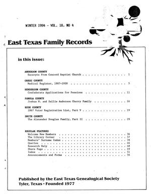Primary view of object titled 'East Texas Family Records, Volume 18, Number 4, Winter 1994'.