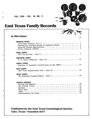 Primary view of object titled 'East Texas Family Records, Volume 18, Number 03, Fall 1994'.