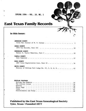 East Texas Family Records, Volume 18, Number 01, Spring 1994