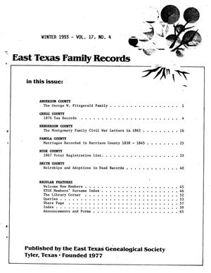 Primary view of object titled 'East Texas Family Records, Volume 17, Number 04, Winter 1993'.