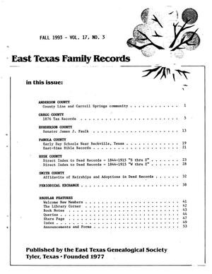 Primary view of object titled 'East Texas Family Records, Volume 17, Number 03, Fall 1993'.