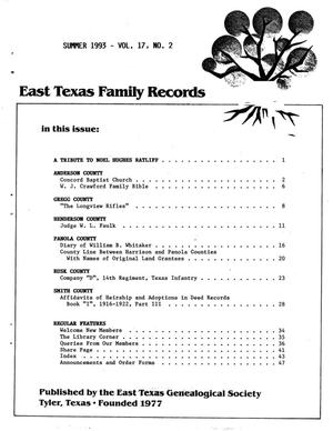Primary view of object titled 'East Texas Family Records, Volume 17, Number 02, Summer 1993'.