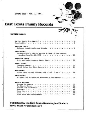 Primary view of object titled 'East Texas Family Records, Volume 17, Number 01, Spring 1993'.
