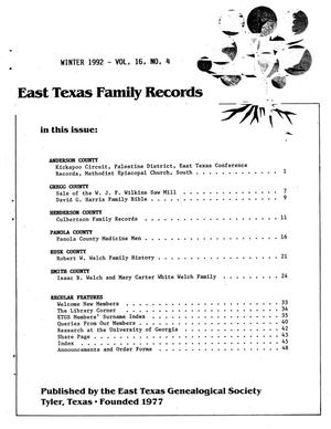 Primary view of object titled 'East Texas Family Records, Volume 16, Number 04, Winter 1992'.