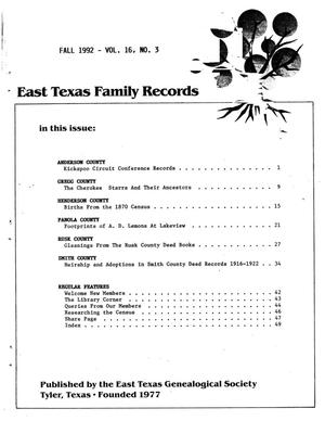 Primary view of object titled 'East Texas Family Records, Volume 16, Number 3, Fall 1992'.