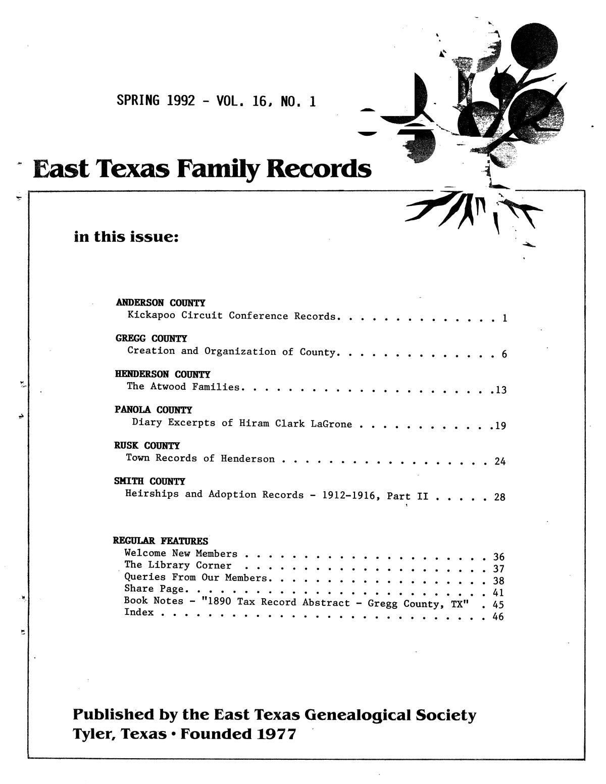 East Texas Family Records, Volume 16, Number 1, Spring 1992