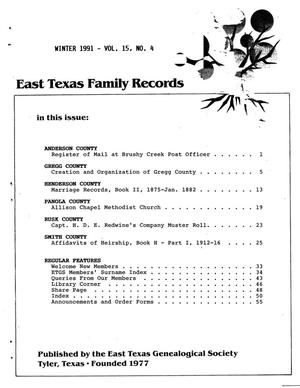 Primary view of object titled 'East Texas Family Records, Volume 15, Number 04, Winter 1991'.