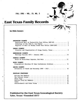 Primary view of object titled 'East Texas Family Records, Volume 15, Number 3, Fall 1991'.