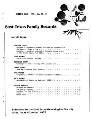 Primary view of object titled 'East Texas Family Records, Volume 15, Number 02, Summer 1991'.