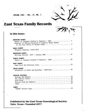Primary view of object titled 'East Texas Family Records, Volume 15, Number 1, Spring 1991'.