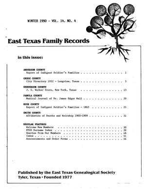 Primary view of object titled 'East Texas Family Records, Volume 14, Number 4, Winter 1990'.