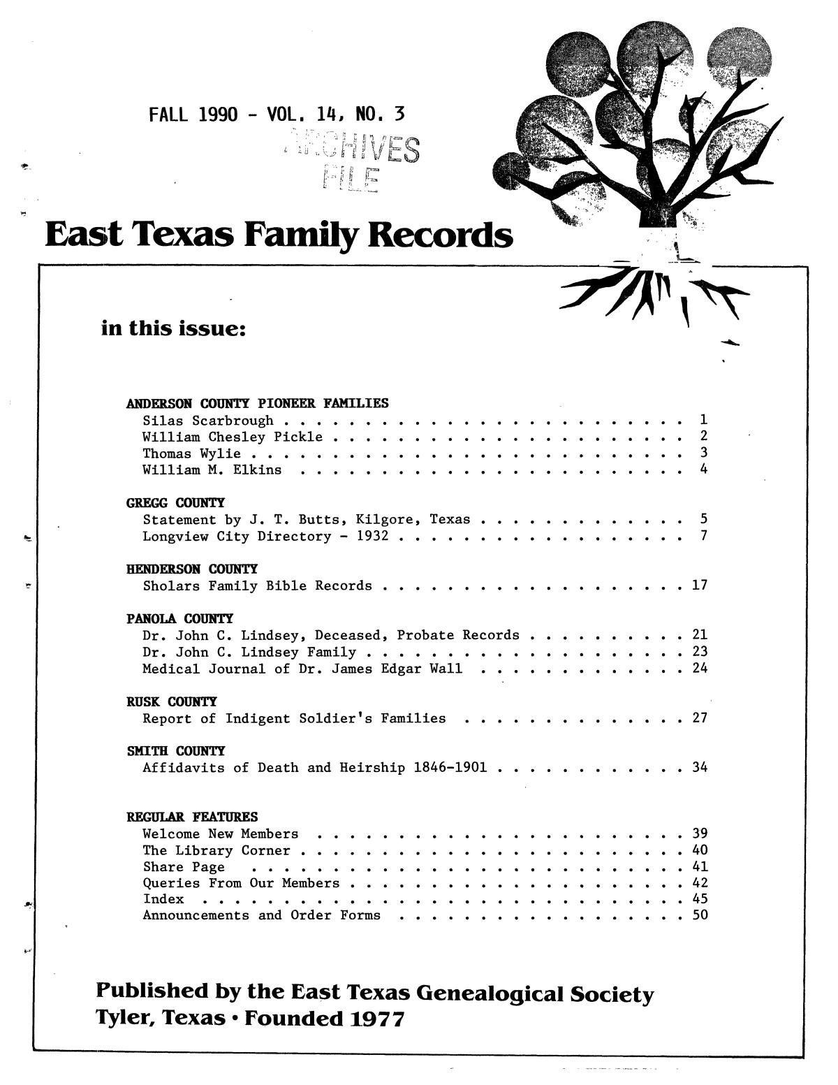 East Texas Family Records, Volume 14, Number 3, Fall 1990                                                                                                      Front Cover