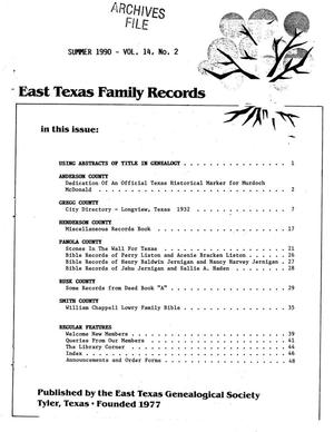 Primary view of object titled 'East Texas Family Records, Volume 14, Number 02, Summer 1990'.