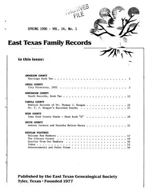 Primary view of object titled 'East Texas Family Records, Volume 14, Number 1, Spring 1990'.