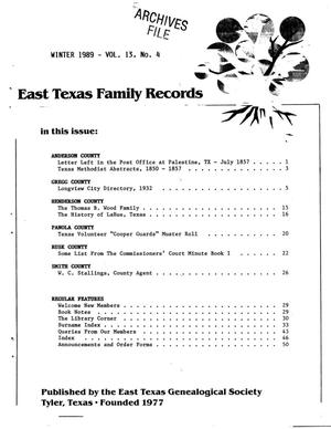 Primary view of object titled 'East Texas Family Records, Volume 13, Number 4, Winter 1989'.