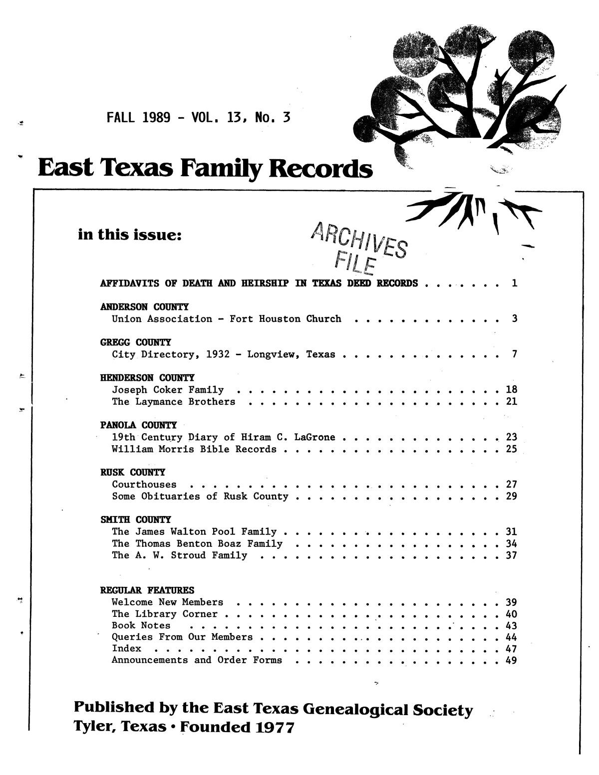 East Texas Family Records, Volume 13, Number 03, Fall 1989                                                                                                      Front Cover