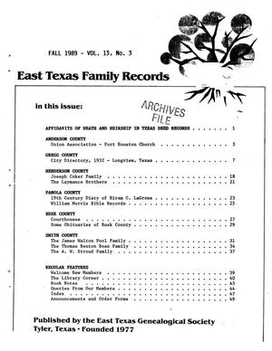 Primary view of object titled 'East Texas Family Records, Volume 13, Number 3, Fall 1989'.