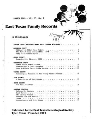 Primary view of object titled 'East Texas Family Records, Volume 13, Number 02, Summer 1989'.