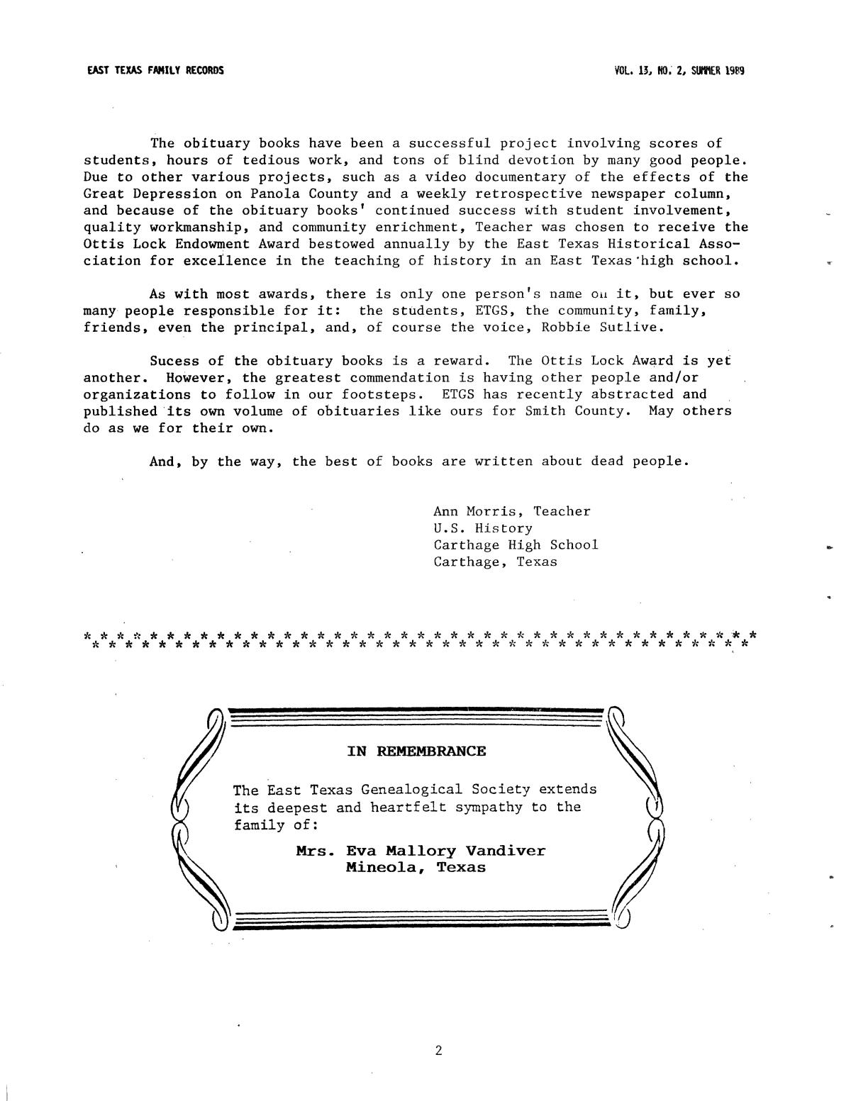 East Texas Family Records, Volume 13, Number 2, Summer 1989                                                                                                      2