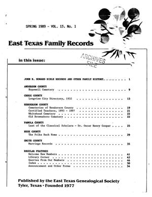 Primary view of object titled 'East Texas Family Records, Volume 13, Number 1, Spring 1989'.