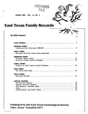 Primary view of object titled 'East Texas Family Records, Volume 12, Number 4, Winter 1988'.
