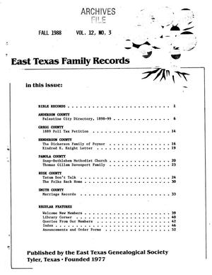 East Texas Family Records, Volume 12, Number 03, Fall 1988