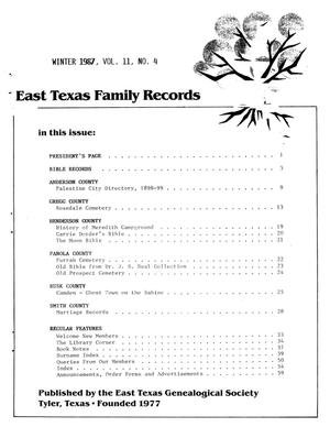 Primary view of object titled 'East Texas Family Records, Volume 11, Number 4, Winter 1987'.