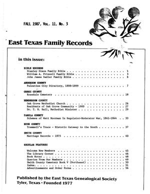 Primary view of object titled 'East Texas Family Records, Volume 11, Number 3, Fall 1987'.