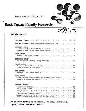 Primary view of object titled 'East Texas Family Records, Volume 10, Number 4, Winter 1986'.