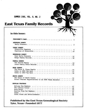 East Texas Family Records, Volume 10, Number 02, Summer 1986