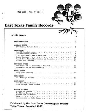 Primary view of object titled 'East Texas Family Records, Volume 09, Number 03, Fall 1985'.
