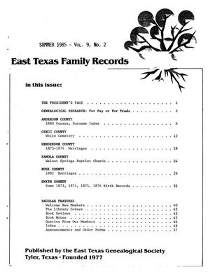 Primary view of object titled 'East Texas Family Records, Volume 09, Number 02, Summer 1985'.