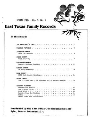 Primary view of object titled 'East Texas Family Records, Volume 9, Number 1, Spring 1985'.