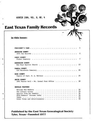 Primary view of object titled 'East Texas Family Records, Volume 08, Number 04, Winter 1984'.