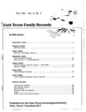 Primary view of object titled 'East Texas Family Records, Volume 08, Number 03, Fall 1984'.