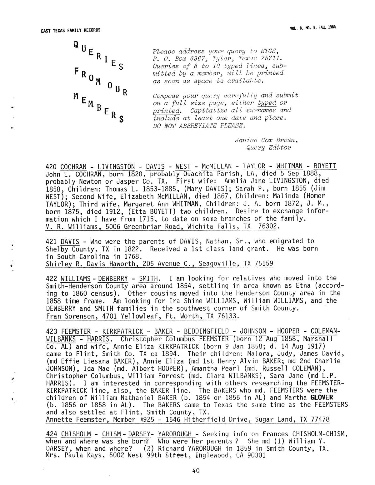 East Texas Family Records, Volume 8, Number 3, Fall 1984 - Page 40 ...