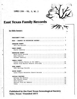Primary view of object titled 'East Texas Family Records, Volume 8, Number 2, Summer 1984'.