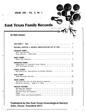 Primary view of object titled 'East Texas Family Records, Volume 8, Number 1, Spring 1984'.