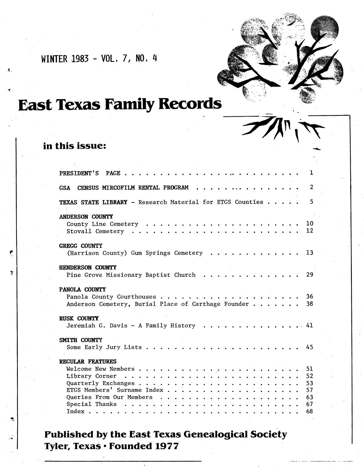 East Texas Family Records, Volume 07, Number 04, Winter 1983                                                                                                      Front Cover