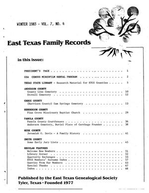 Primary view of object titled 'East Texas Family Records, Volume 07, Number 04, Winter 1983'.