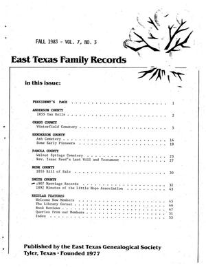 Primary view of object titled 'East Texas Family Records, Volume 07, Number 03, Fall 1983'.