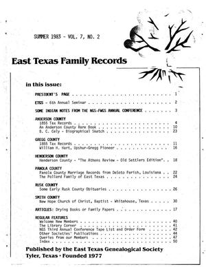 Primary view of object titled 'East Texas Family Records, Volume 7, Number 2, Summer 1983'.