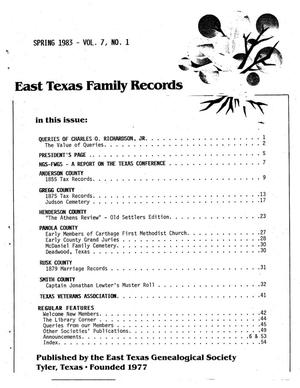 Primary view of object titled 'East Texas Family Records, Volume 07, Number 01, Spring 1983'.