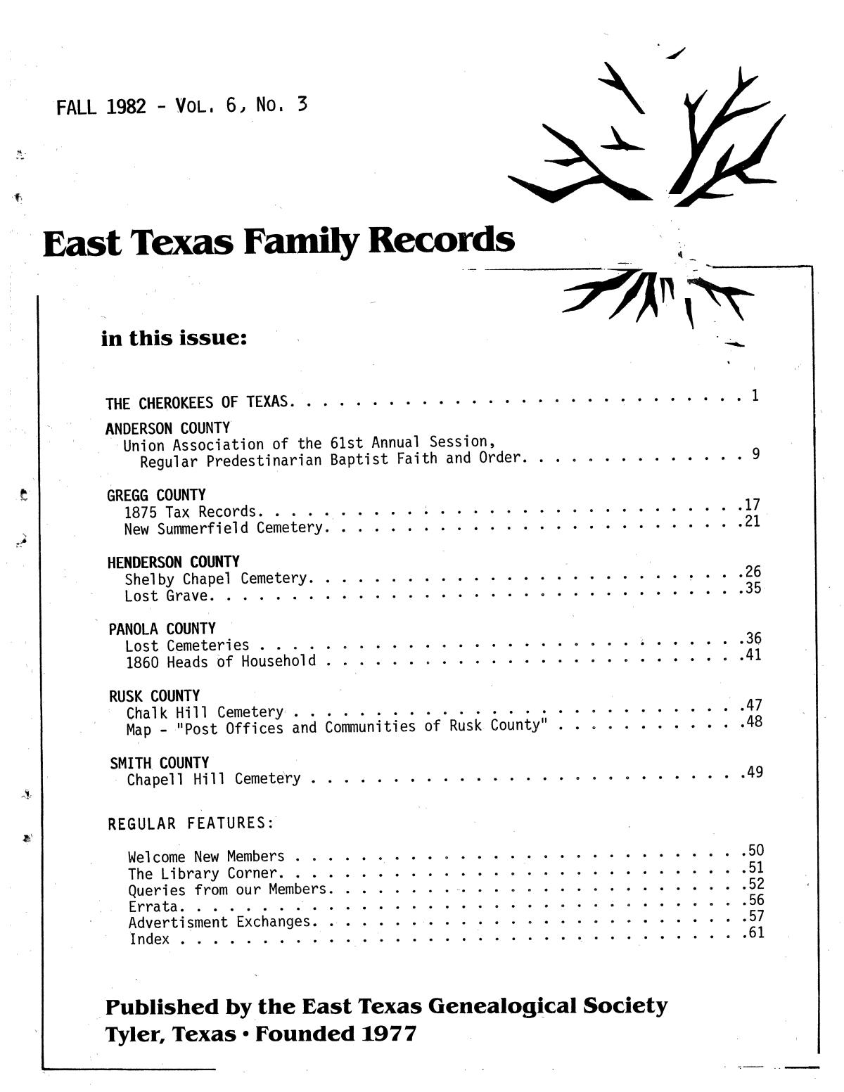 East Texas Family Records, Volume 6, Number 3, Fall 1982                                                                                                      Front Cover