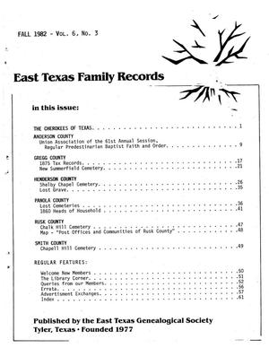 East Texas Family Records, Volume 06, Number 03, Fall 1982